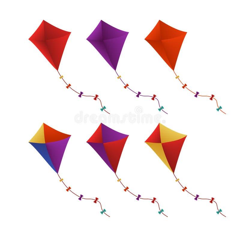 Kleurrijke Vliegende die Vliegers op Witte Achtergrond worden geplaatst royalty-vrije illustratie