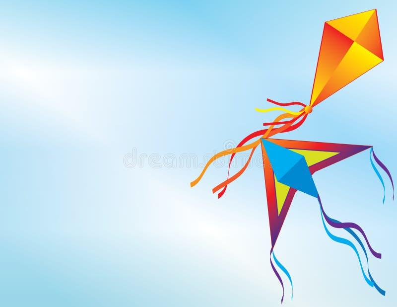 Kleurrijke vliegers die in de blauwe hemel vliegen royalty-vrije illustratie