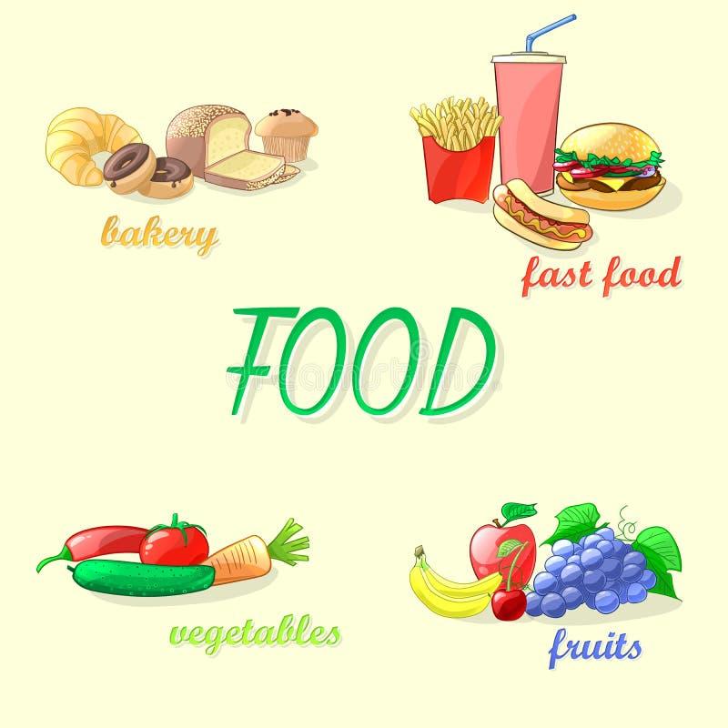 Kleurrijke voedsel vectorillustratie Snel voedsel, groenten, vruchten stock illustratie