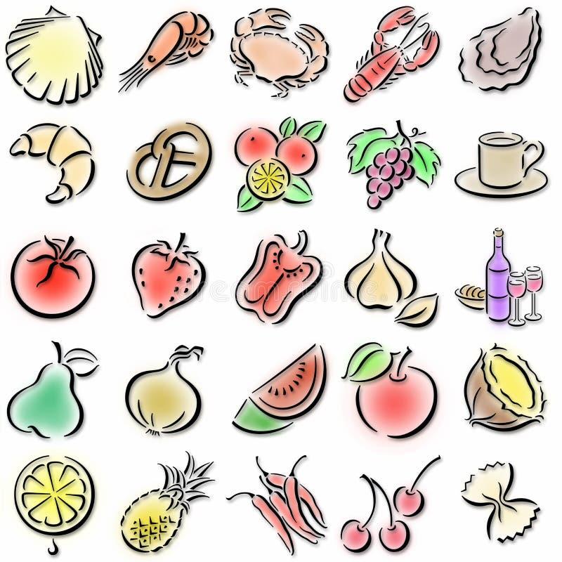 Kleurrijke voedselsymbolen stock illustratie