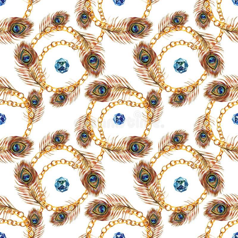 Kleurrijke vogelveer Naadloos patroon Waterverf achtergrondillustratiereeks De manieraquarelle van de Watercolourtekening vector illustratie