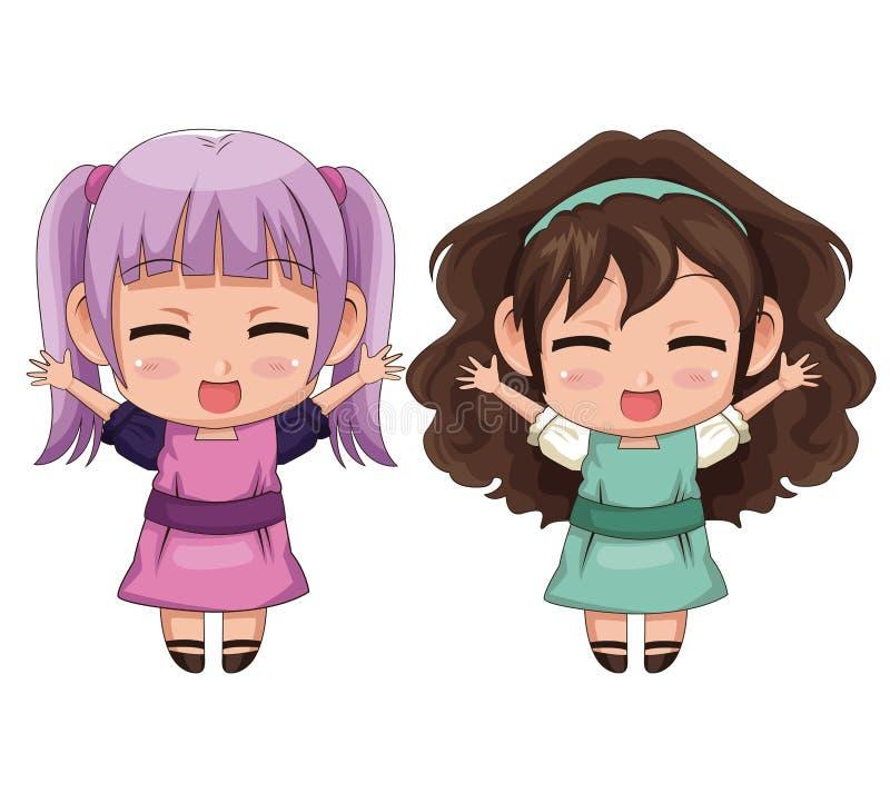 Kleurrijke volledige van het animemeisje van het lichaamspaar leuke de gelaatsuitdrukkingglimlach en sprong vector illustratie