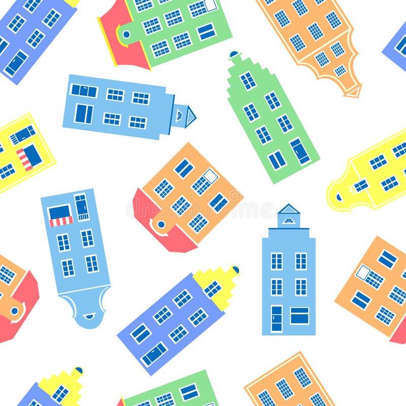 Kleurrijke voorgevel van burgherhuizen, Vectorillustratie die op witte achtergrond, Vertegenwoordiger wordt geïsoleerd van Europe stock illustratie