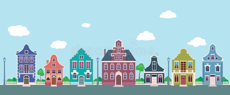 Kleurrijke voorgevels van de oude huizen op een beeldverhaal van de stadsstraat stock illustratie