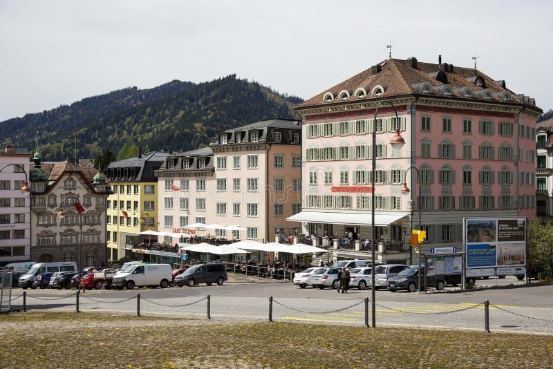 Kleurrijke voorgevels van gebouwen in Einsiedeln royalty-vrije stock afbeelding