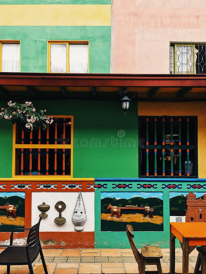 Kleurrijke voorzijden in Guatapé royalty-vrije stock foto