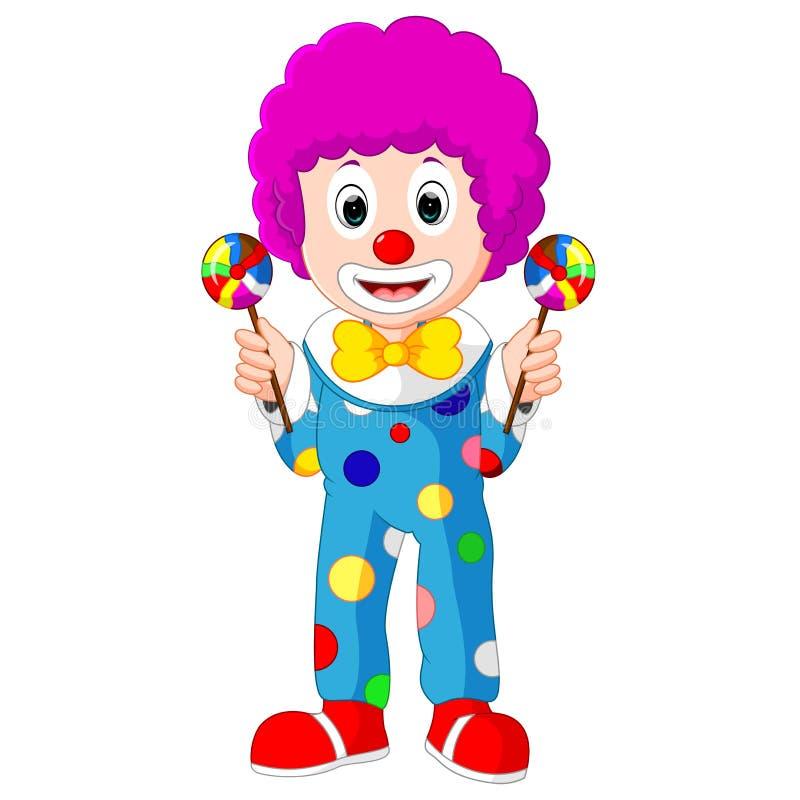 Kleurrijke Vriendschappelijke Clown With Lollypop royalty-vrije illustratie