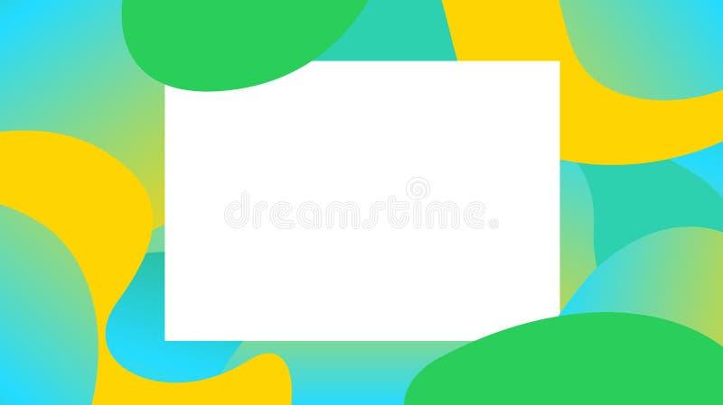 Kleurrijke vrije vormvormen gradiënt en wit kader, blob geometrische golfvlakke lay voor exemplaarruimte, toekomstige geometrisch stock illustratie