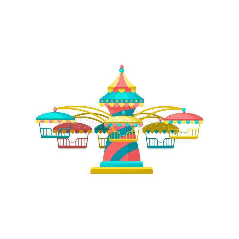 Kleurrijke vrolijk gaat om carrousel, de vectorillustratie van het pretparkelement op een witte achtergrond vector illustratie