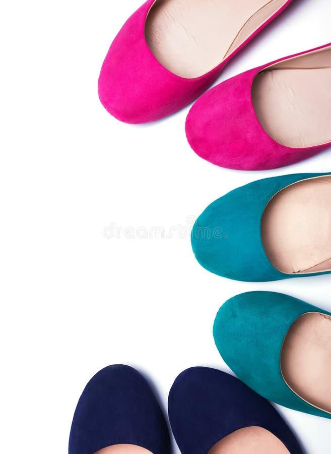 Kleurrijke vrouwen vlakke schoenen royalty-vrije stock foto's