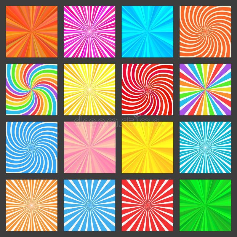 Kleurrijke Waaiende Geplaatste Stralenachtergronden vector illustratie