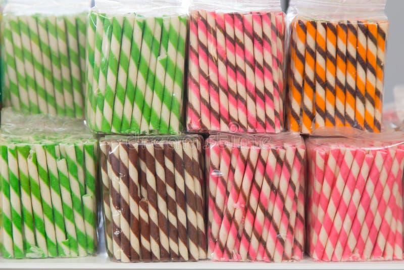 Kleurrijke Wafeltjeloempia stock fotografie