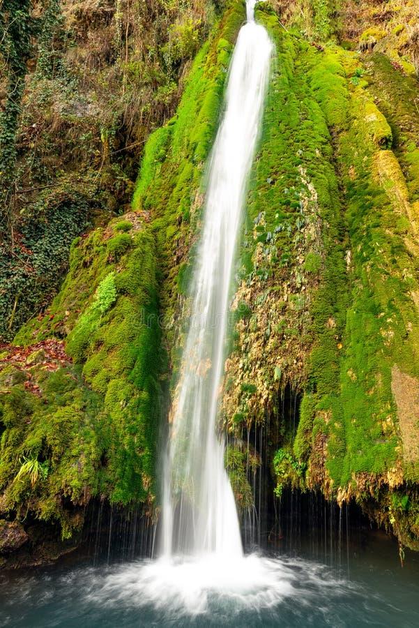 Kleurrijke waterval in de bos vroege herfst met gebladerte royalty-vrije stock foto