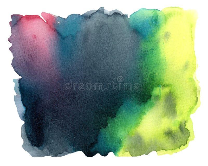 Kleurrijke waterverfachtergrond met plons stock illustratie