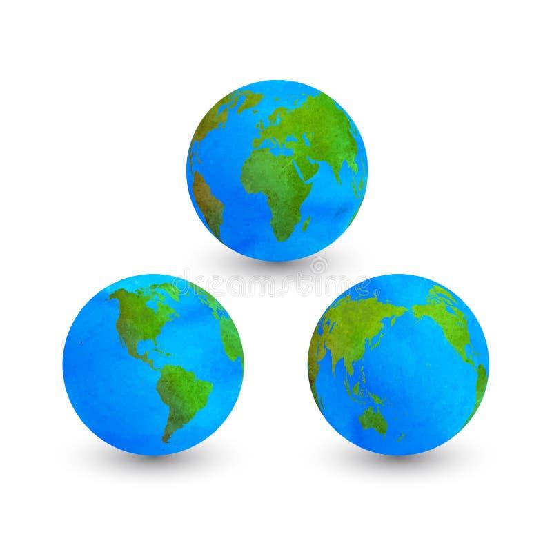 Kleurrijke waterverfbollen die op wit worden geïsoleerd Illustratie royalty-vrije illustratie