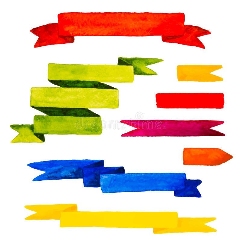 Kleurrijke waterverflinten geplaatst die op witte achtergrond worden geïsoleerd vec vector illustratie