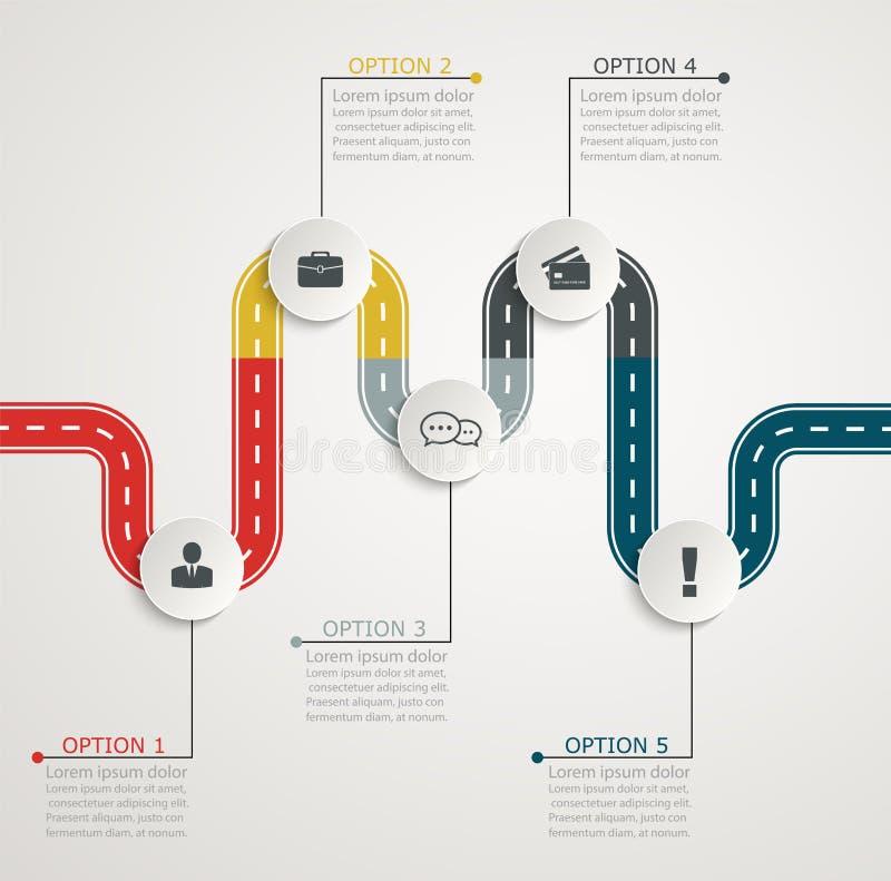 Kleurrijke weg infographic chronologie met pictogrammen, trapsgewijze horizontale structuur stock illustratie