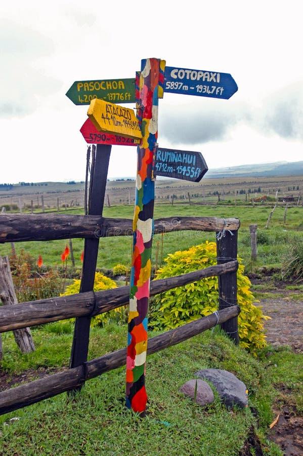 Kleurrijke wegwijzer in equador royalty-vrije stock afbeeldingen