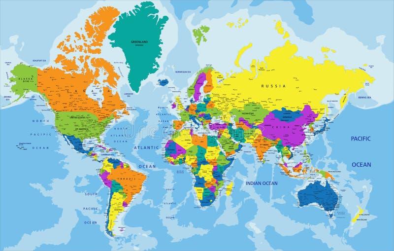 Kleurrijke Wereld politieke kaart met etikettering stock illustratie
