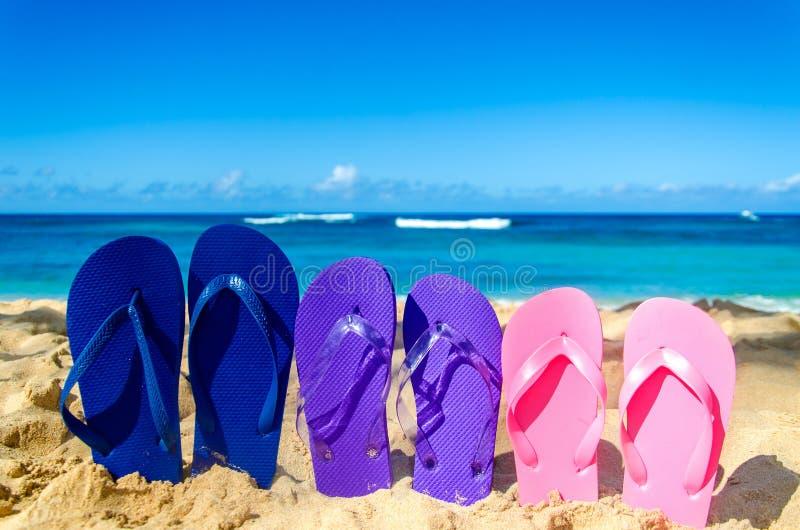 Kleurrijke wipschakelaars op het zandige strand stock afbeelding