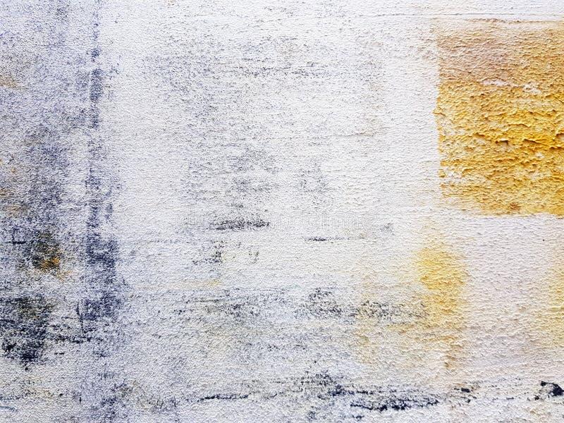 Kleurrijke witte kunst in acryl Geschilderde stijl op de Witte, Gele, Zwarte, bruine kleur van het canvaskader royalty-vrije stock foto's