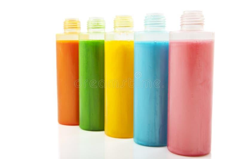 Kleurrijke zeep in een rij stock foto's
