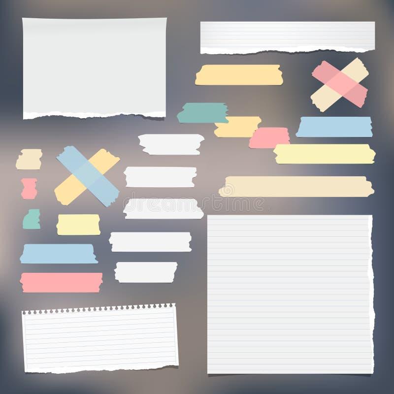 Kleurrijke zelfklevend, kleverig, het maskeren, de stroken van de buisband met nota, notitieboekjedocument voor tekst op grijze a vector illustratie