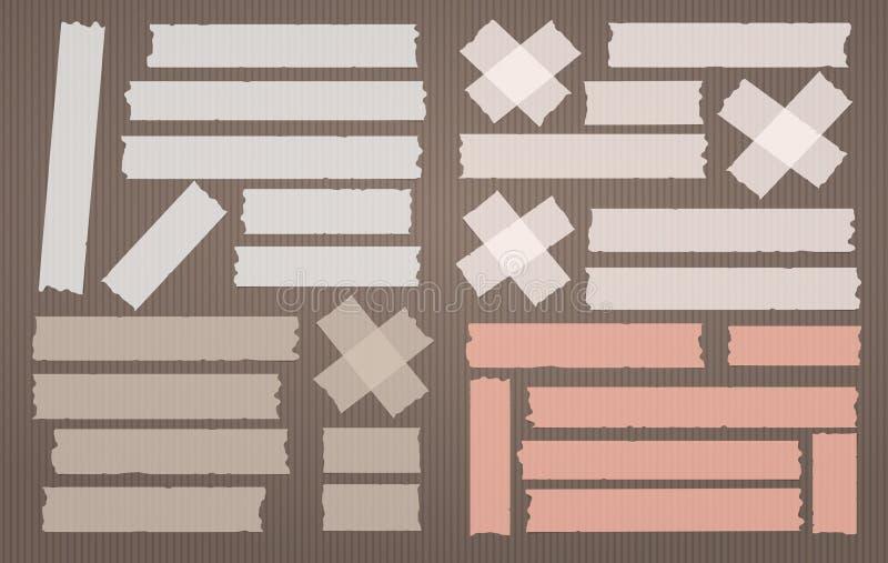 Kleurrijke zelfklevend, kleverig, het maskeren, de stroken van de buisband voor tekst op lichtbruine achtergrond Vector illustrat stock illustratie
