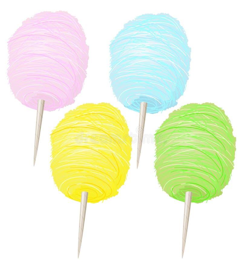 Kleurrijke Zoete Zachte Gesponnen suikerinzameling vector illustratie