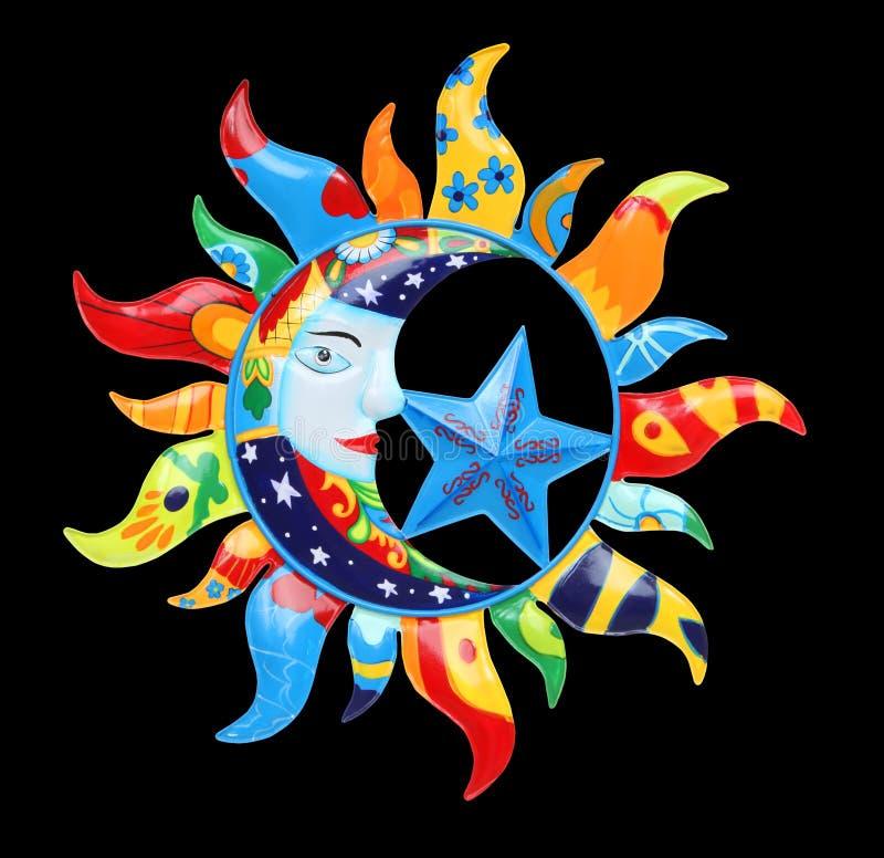 Kleurrijke Zon en Maan royalty-vrije stock fotografie