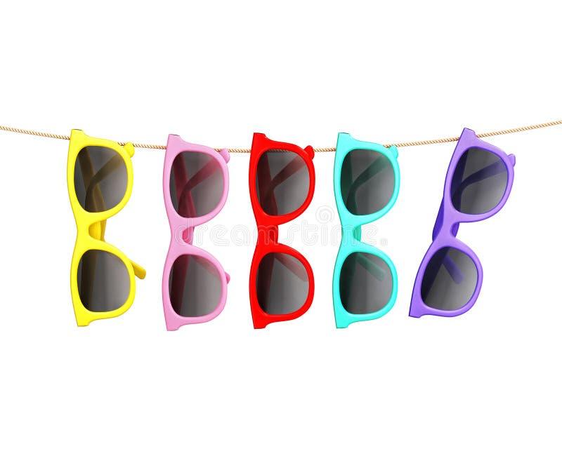 Kleurrijke zonnebril die die op kabel hangen, op wit, de zomerachtergrond wordt geïsoleerd vector illustratie