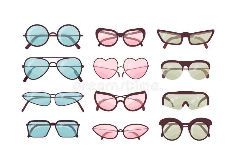 Kleurrijke zonnebril vectorreeks Bril plastic kaderinzameling De bescherming van de de zomerzon stock illustratie