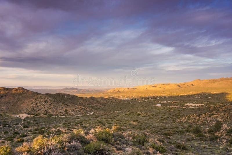 Kleurrijke zonsondergang in Joshua Tree National Park, Californië royalty-vrije stock fotografie