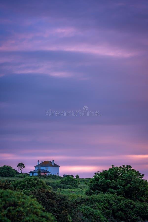 Kleurrijke zonsondergang Van Cornwall royalty-vrije stock afbeeldingen
