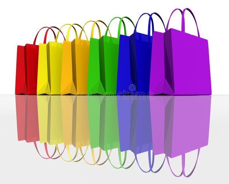 Kleurt het winkelen zakken stock illustratie