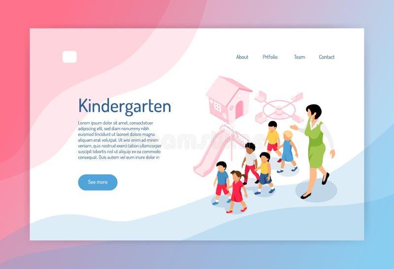 Kleuterschool Isometrische Webpagina stock illustratie