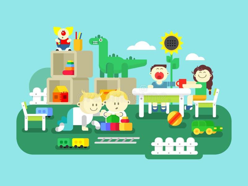 Kleuterschool vlak ontwerp stock illustratie