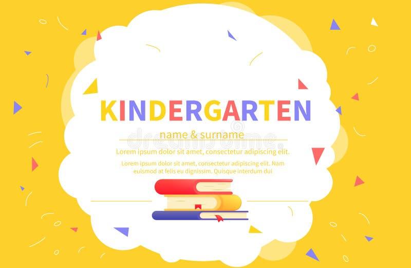 Kleuterschoolcertificaatsjablonen voor student stock illustratie