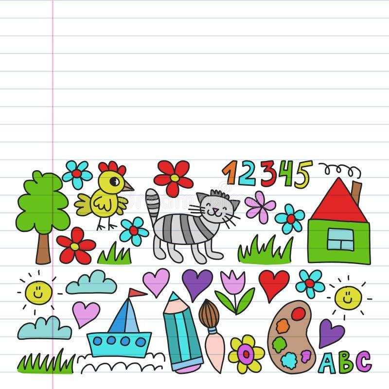 Kleuterschoolpatroon, getrokken de elementenpatroon van de jonge geitjestuin, krabbeltekening, vector kleurrijke illustratie, lij vector illustratie