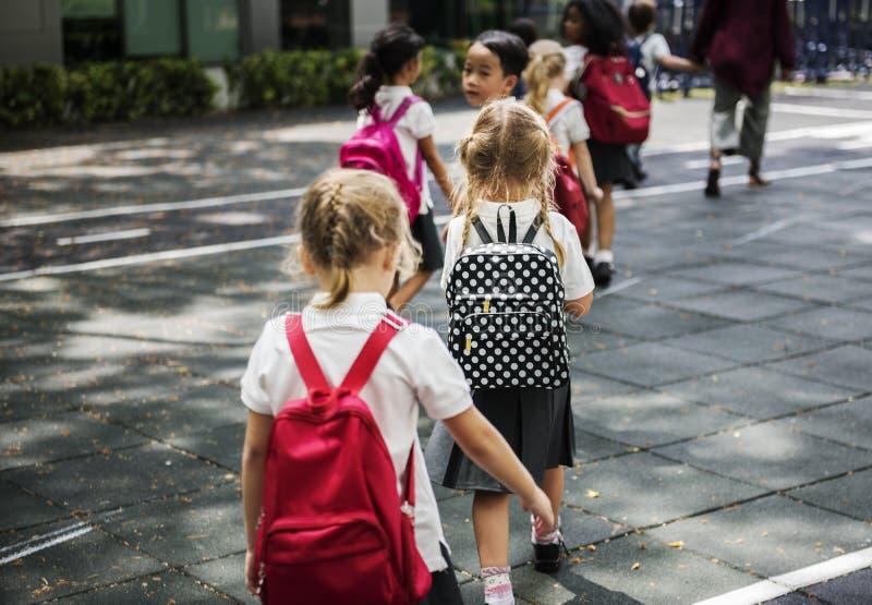 Kleuterschoolstudenten die kruisend schoolweg lopen royalty-vrije stock afbeelding