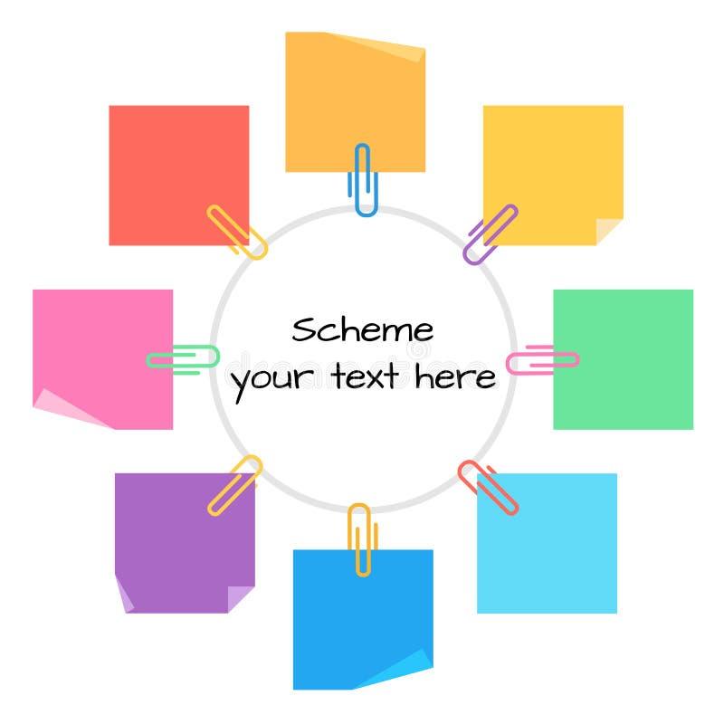 Kleverig de notadocument van de informatiecirkel stock illustratie