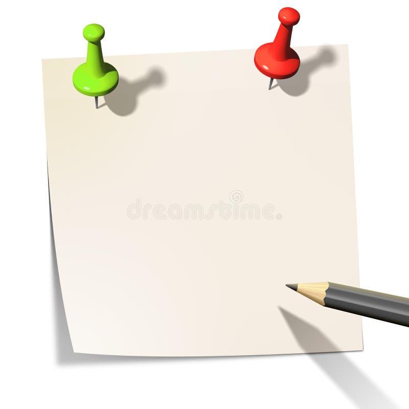 Kleverig document stock illustratie