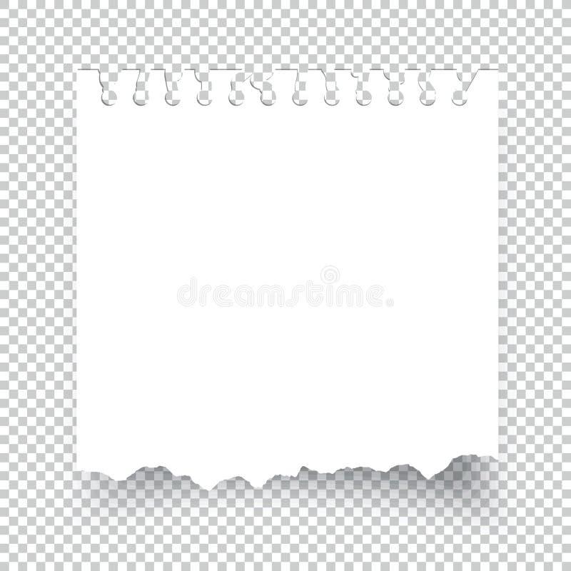 Kleverig gescheurd die notadocument op transparant wordt geïsoleerd stock illustratie