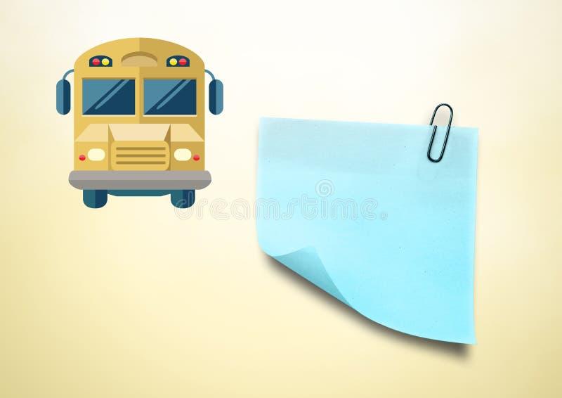 Kleverig Nota en Schoolbuspictogram tegen roomachtergrond vector illustratie