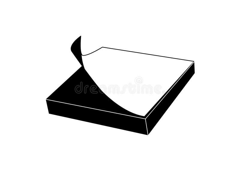Kleverig notapictogram in zwarte stock illustratie