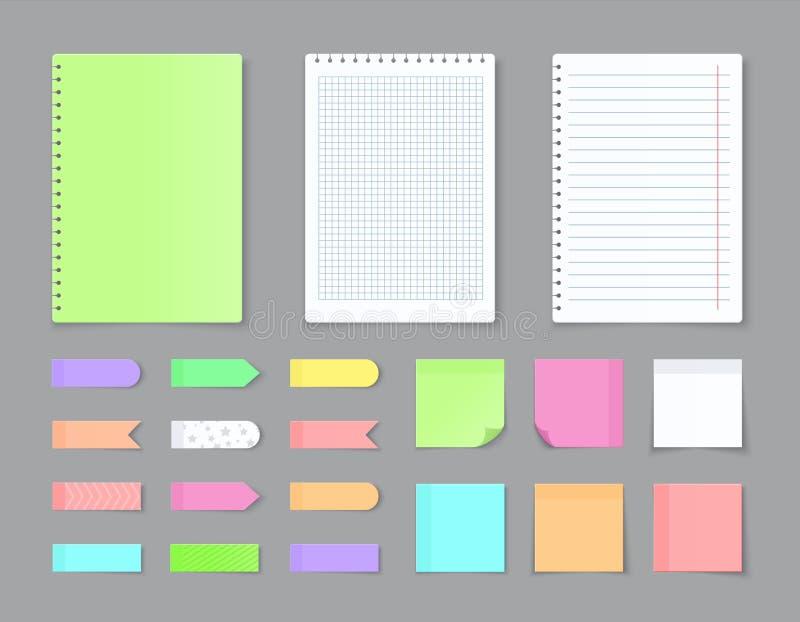 Kleverig notitieboekjedocument Zelfklevende stickers en spatie gekleurde bladen met roosters en lijnen Vector lege gescheurde pag vector illustratie
