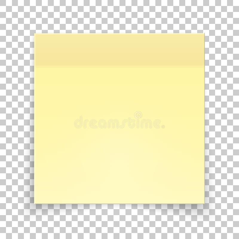 Kleverig stuk van geel document, stickernota voor het eraan herinneren, lijst, bericht, informatie royalty-vrije illustratie