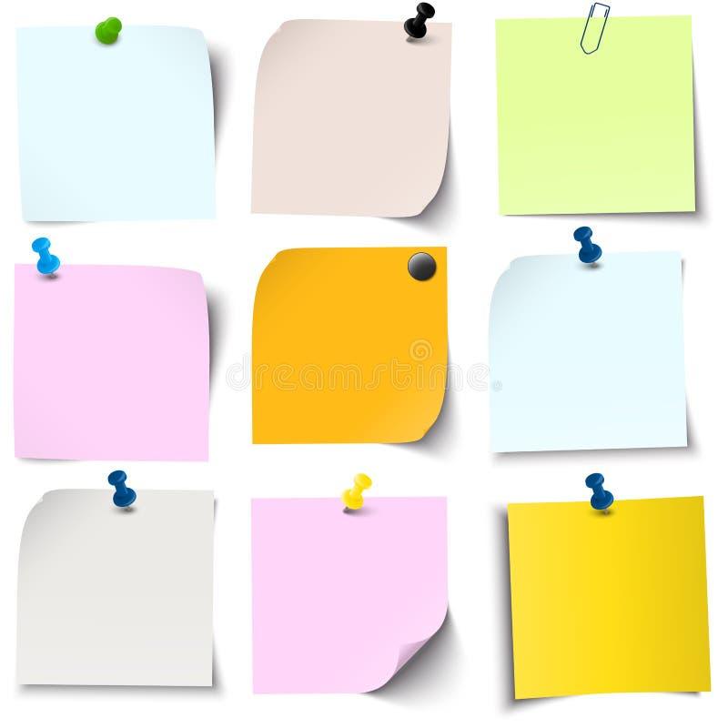 kleverige documenten inzameling stock illustratie
