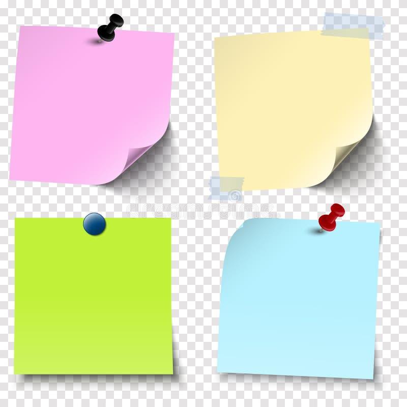 kleverige documenten inzameling met vectortransparantie royalty-vrije illustratie