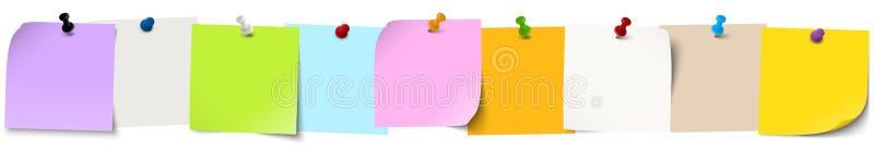 kleverige documenten met speldnaalden vector illustratie